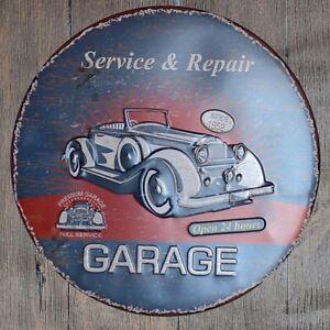 Metal Tin Sign round garage service repair decor Bar Pub Retro Poster 30cm