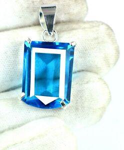 34.30 Ct Fancy Shape 925 Sterling Silver Sky Blue Topaz Pendant Certified H641