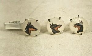 Sterling Hand Painted on Mother of Pearl Doberman Tie Clasp & Cufflinks