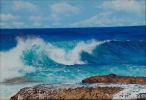 Limited Edition Cornish Surf PRINT Of Original Painting Seascape Rocks Sky Waves