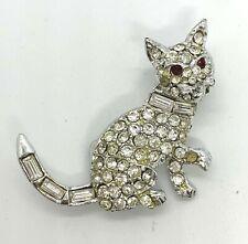 Vintage Silver Tone Crystal Rhinestone Kitten Cat Animal Brooch Pin Jewelry