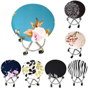 Elastic Spandex Round Stool Seat Cover Floral Printing Chair Cover Home Decor