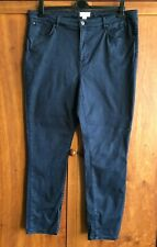 "MONSOON Plus Size 20 48 NAVY BLUE COTTON JEANS Long 30"" Leg Trousers Pockets Zip"