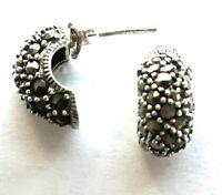 Marcasite 925 Sterling Silver Half Hoop Earrings