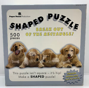 500 Piece GOLDEN RETRIEVER PUPPIES Shaped Sealed Puzzle Finished Sz 30.5x10.5