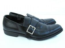 Prada Black Leather Loafers Slip On Silver Buckle Dress Shoes Size 7.5