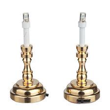 Light LED Brass Candlesticks 1pr. 2347  battery dollhouse 1/12 scale miniature