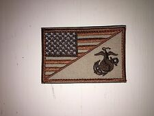 AMERICAN FLAG MARINE CORPS / USMC BADGE TACTICAL DESERT PATCH TAN NEW