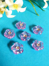 """299B/ CHARMING SMALL BUTTONS """" VIOLLETTE """" RHINESTONES HEART SET OF 6 BUTTONS"""