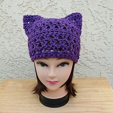 Dark Purple Summer Pussy Cat Hat 100% Cotton Lightweight Pussyhat Crochet Knit