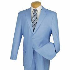 VINCI Men's Powder Blue Linen 2 Button Classic Fit Tropical Suit NEW