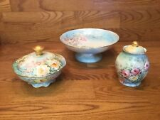 3 Antique Hand Painted Porcelain Serving Dishes Signed by Powell - Germany
