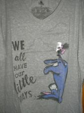 2XL Eeyore V-Neck ~ We All Have Our Little Ways ~ NWT Disney Store