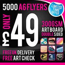 5000 A6 Leaflets / Flyers - 300gsm Coated Art Board - Full Colour - DOUBLE SIDED