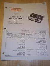 Superscope Service Manual~CD-303 Cassette Deck~Original~Repair