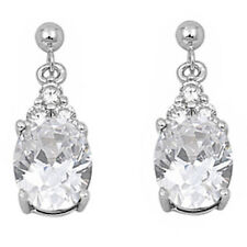 DANGLING OVAL WHITE CZ .925 Sterling Silver Earrings