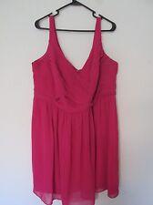 New David's Bridal Watermelon Pink Bridesmaid Dress F15603 Tank w/Ruching Sz 22