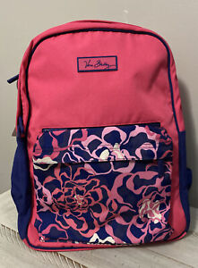 VERA BRADLEY Essential Backpack Large Pink Purple Floral Nylon Double Straps EUC