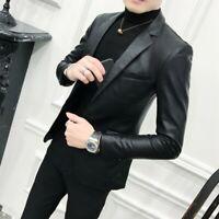 Mens Leather jacket Blazer Lapel Slim fit Motorcycle Biker Outwear Coat Fashion