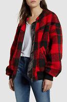 $889 Rebecca Minkoff Women's Red Black Check Full Zip Bomber Jacket Coat Size XS