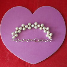 """Beautiful Silver Bracelet With Freshwater Pearls 15.7 Gr. 7""""- 8"""" Inc Long In Box"""