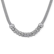 """Substantial & Sparkling White Austrian Crystal 18"""" Necklace in Stainless Steel"""