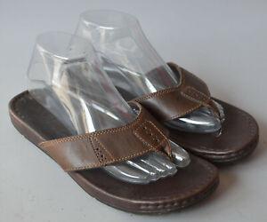 Men's Brown / Tan Leather Timberland Toe Bar Sandals Size UK 7.
