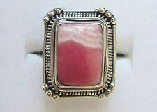 Rhodochrosite Ring, 925 Sterling Silver, sz 6.75