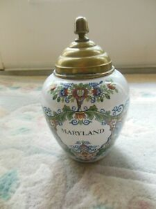 Delft Holland Maryland Tobacco Jar