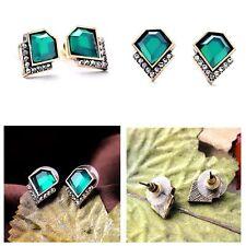 Crystal Geometric Superman Exquisite Vintage Green Gem Women Stud Earrings