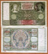 Netherlands, 100 Gulden, 1942, P-51 (51c), WWII, aUNC > Woman, Reflective Image