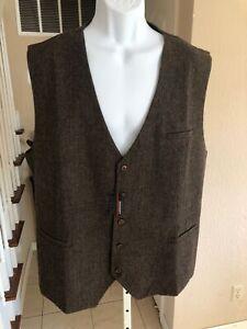 NWT Hisdern Herringbone Brown Tweed Wool Blend Suit Vest Waistcoat 4XL