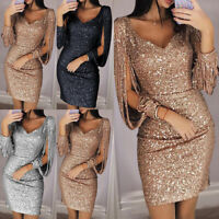 Women Sequins Glitter Bodycon Mini Dress Evening Cocktail Party Clubwear Dresses