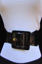 Women Stretch Hip High Waist Belt Navy Blue Square Buckle Print One Size S M