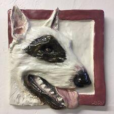 Bull Terrier Dog Ceramic Tile Handmade 3d Pet Portrait Sondra Alexander Art
