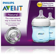 PHILIPS AVENT NATURAL FEEDING BOTTLES 2 TWIN PACK 125ML BLUE BABY BREASTFEEDING