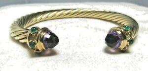 David Yurman 14K Yellow Gold Amethyst, Green Onyx 7MM Cable Renaissance Bracelet