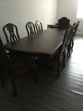 Classic Dining Table, side chairs, armchairs and Credenza. Great shape