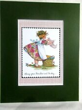 """New listing Mary Engelbreit Matted Calendar Print 8""""X 10"""" Hang Your Troubles Out to Dry #116"""