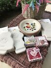 Longaberger+Assorted+Accessory+Lot+4+Plates%2A3+Angel+Molds%2A3+Basket+Tie-Ons