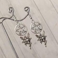 Silver Plated Costume Tibetan Pentagram & Fairy Earrings Wicca Pagan Totem