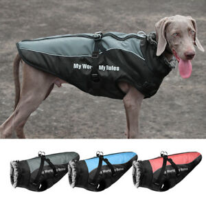 Cold Winter Dog Coat Waterproof Warm Jacket With Fur Collar Reflective Clothes