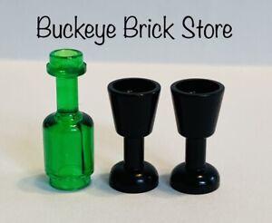 LEGO Minifig Black Goblets & Tran-Green Wine BOTTLE New