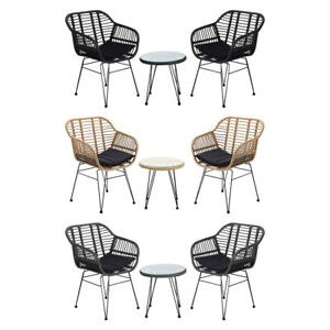 3pcs Rattan Garden Patio Furniture Set Outdoor Bistro Cafe Dining Table+2 Chairs