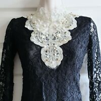 Korean Fashion Medium Intricate Black Lace Top w Cream Pearl Detail K-Fashion
