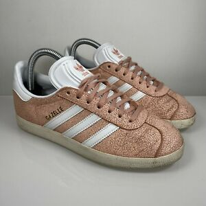 Adidas Gazelle Size UK 4 US 5.5 Womens Pink Cracked Suede Trainers