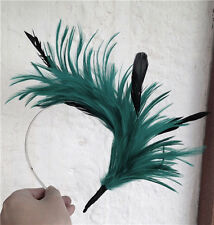 green black feather headband fascinator headpiece wedding party race ascot