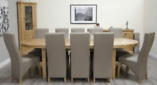 Regent Solid Oak Furniture Oval Extending Dining Table With Ten Leather Chairs