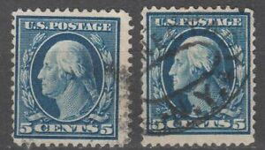 USA Scott #  335 Washington 5 Cent  Perf 12 DLW  Used lot of 2 ( 335-2)