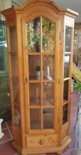 189cm tall pine display cabinet 4 sides 4 shelves, keylock & drawer